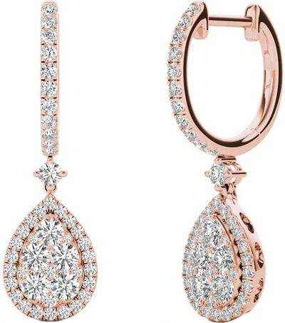 Diamond Earrings, 1.45 Carat Diamonds on 18k Rose Gold E20240R