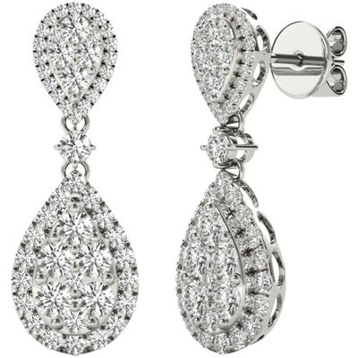 Diamond Earrings, 1.70 Carat Diamonds on 18k White Gold E21971W
