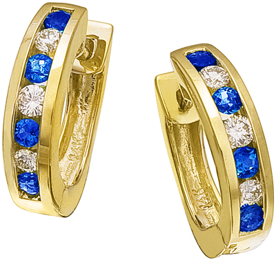 Diamond Earrings,  .19 Carat Round Diamonds .37 Carat Blue Sapphire Diamonds on 14K Yellow Gold