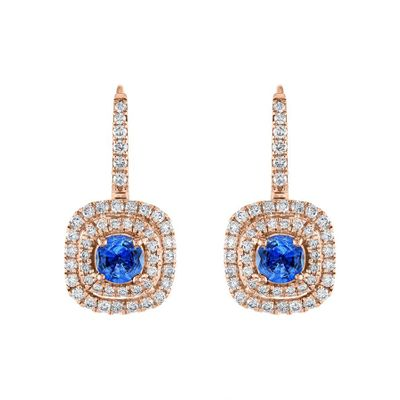 Diamond Blue Sapphire Drop Earrings, 0.60 Carat on 18k Rose Gold