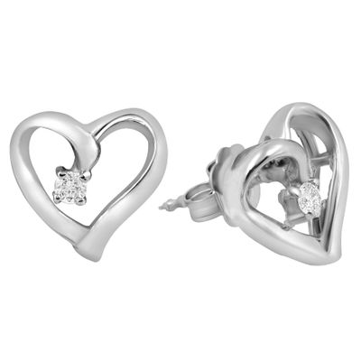 Diamond Heart Earrings, .05 Carat on 14k White gold