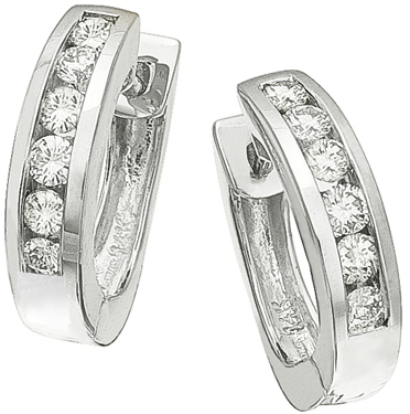 Diamond Earrings,  .38 Carat Round Diamonds on 14K White Gold