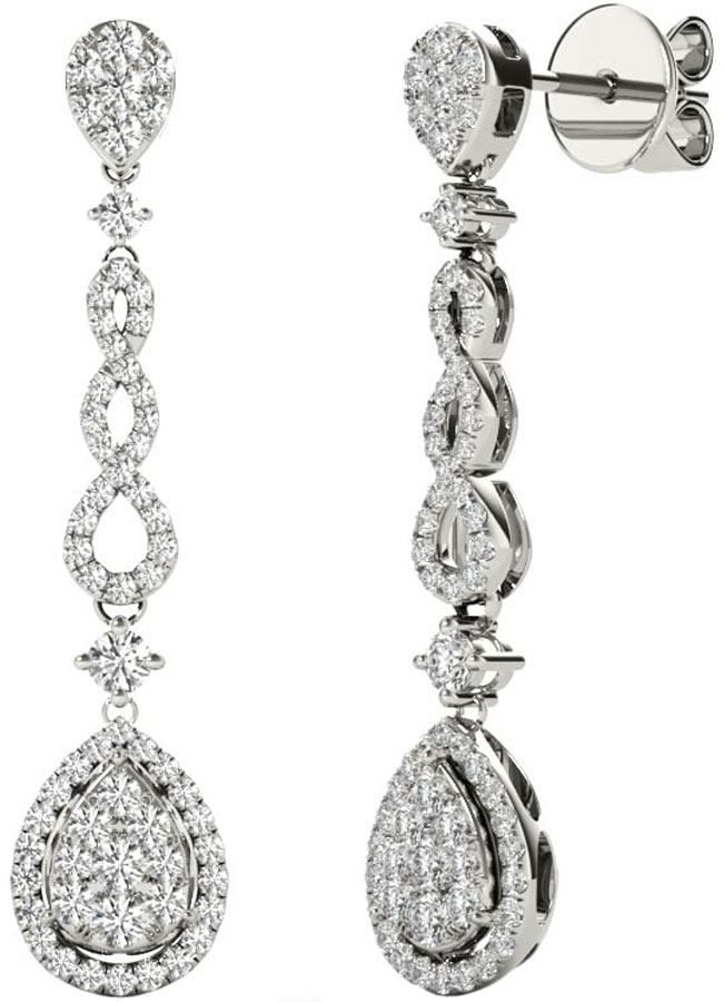 Diamond Earrings, .58 Carat Diamonds On 18k White Gold