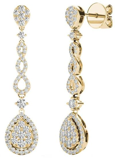 Diamond Earrings, .58 Carat Diamonds on 18k Yellow Gold E20251Y