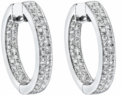Diamond Earrings,  .90 Carat Round Diamonds on 18K White Gold