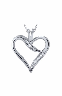 Diamond Heart Pendant, 0.05 Carat on 10k White Gold
