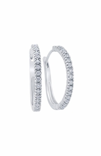 Diamond Hoop Earrings, 0.5 Carat on 10k White Gold