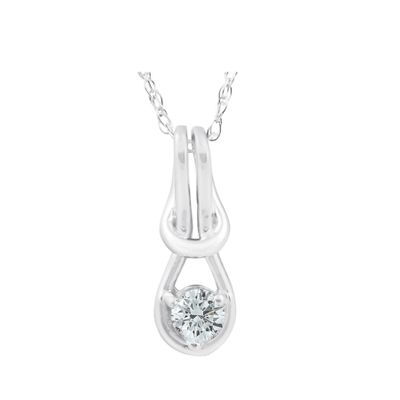 Diamond Knot Pendant, 0.08 Carat on 10k White Gold