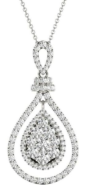 Diamond Oval Pendant, 1.03 Carat on 18k White Gold P20245W