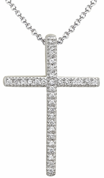 Diamond Pendant, .10 Carat Diamonds on 14K White Gold