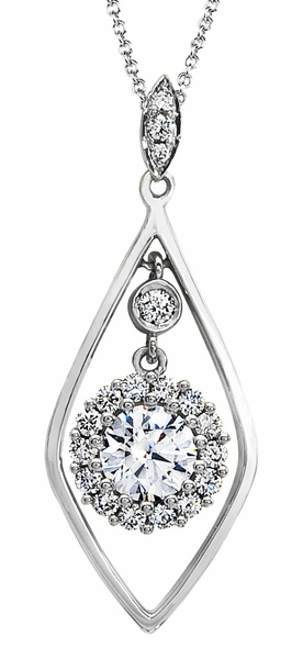 Diamond Pendant, .20 Carat Diamonds on 14K White Gold PWG182