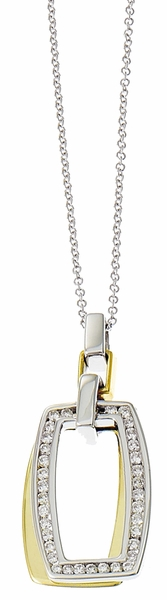 Diamond Pendant, .30 Carat Diamonds on 14k White & Yellow Gold P2T116