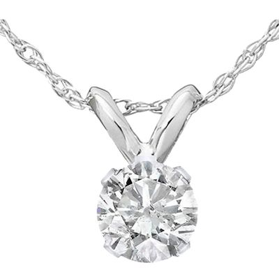 Diamond Solitaire Pendant, .32 Carat on 14k White Gold RSP033WG