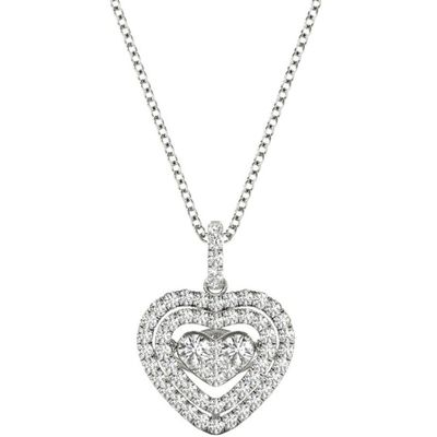 Diamond Fluttering Heart Pendant, .64 Carat on 18k White Gold P21958W