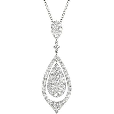 Diamond Pendant, 1.10 Carat on 18k White Gold Women's Necklace P21967W