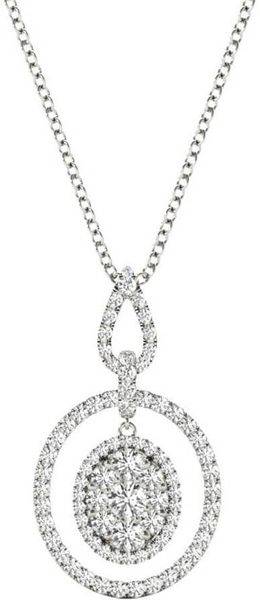 Diamond Pendant, 1.04 Carat on 18k White Gold Women's Necklace P21956W