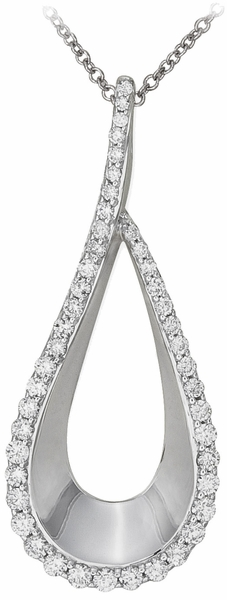 Women's Diamond Pendant Necklace, .55 Carat Diamonds on 14k White Gold PWG156