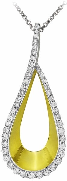 Diamond Pendant Necklace, .55 Carat Diamonds on 14k White Gold PWG156-Y