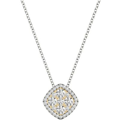 Diamond Pendant, .83 Carat on 18k White & Yellow Gold P21953WY