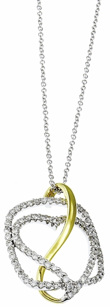 Diamond Pendant, .60 Carat Diamonds on 14K White & Yellow Gold