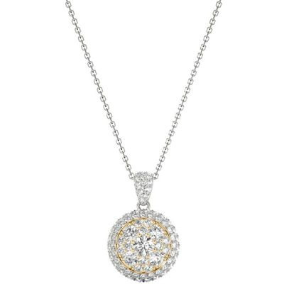 Diamond Round Pendant, .63 Carat on 18k White & Yellow Gold P21969WY