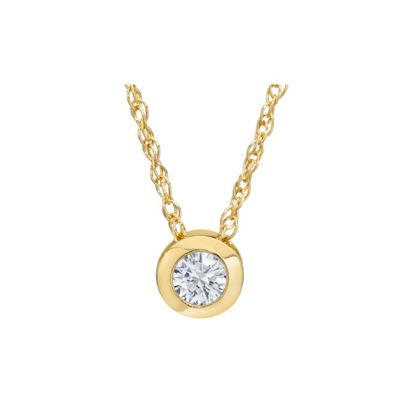 Diamond Solitaire Bezel Pendant, 0.22 Carat on 14k Yellow Gold 3PP025SL2Y