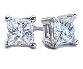 .75 TCW Diamond Princess-Cut Stud Solitaire White Gold Earrings