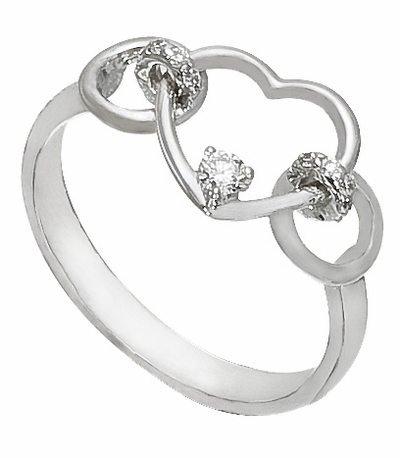 Diamond Ring, .09 Carat Diamonds on 14K White Gold