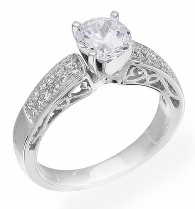 Diamond Ring, .24 Carat Diamonds on 14K White Gold