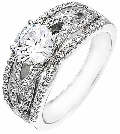 Diamond Ring, .35 Carat Diamonds on 14k White Gold RWG134