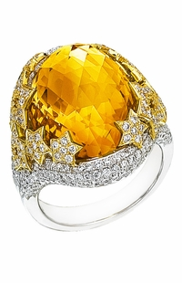Diamond Ring, .40 Carat Diamonds 1.52 Carat Zirconia on 14K White & Yellow Gold