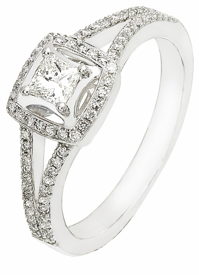 Women's Diamond Ring, .50 Carat Diamonds on 14k White Gold RWG352