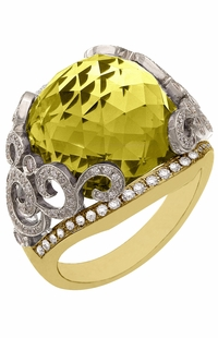 Diamond Ring, .60 Carat Diamonds 15.83 Carat Quartz on 14K White & Yellow Gold