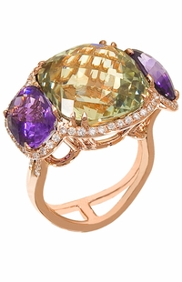 Diamond Ring, .60 Carat Diamonds 5.40 Carat Amethyst 15.15 Carat Topaz on 14K Rose Gold