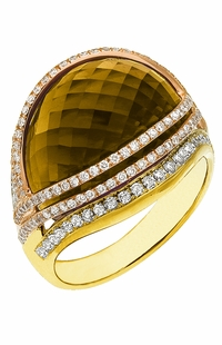 Diamond Ring, .71 Carat Diamonds 15.17 Carat Topaz on 14K Rose & Yellow Gold