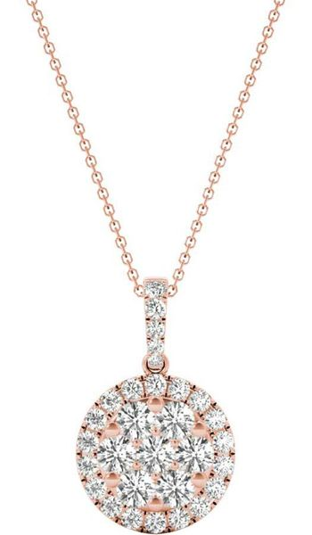 Diamond Round Pendant, .56 Carat on 18k Rose Gold P20241R
