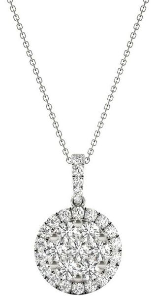 Diamond Round Pendant, .56 Carat on 18k White Gold P20241W