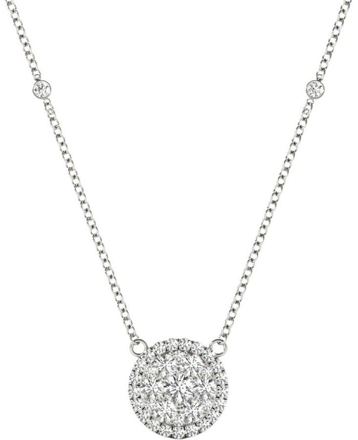 White Gold Round Shaped Women S Diamond Pendant Necklace