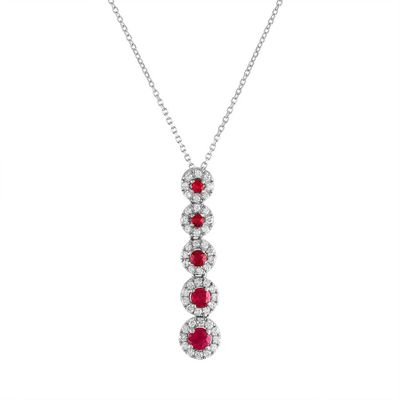 Diamond Ruby Pendant on 18k White Gold