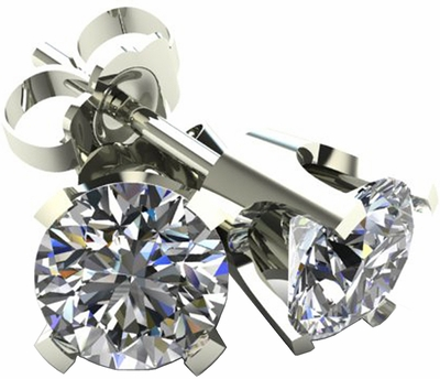 .50 TCW Diamond Stud Solitaire White Gold Earrings 3PE50W