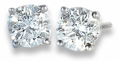 .75 TCW Diamond Stud Solitaire White Gold Earrings