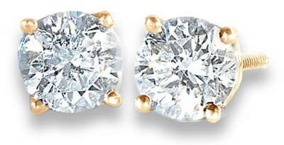 .75 TCW Diamond Stud Solitaire Yellow Gold Earrings