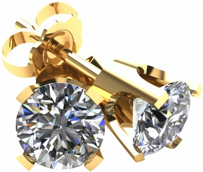 .50 TCW Diamond Stud Solitaire 18K Solid Yellow Gold Earrings 3PE50YG