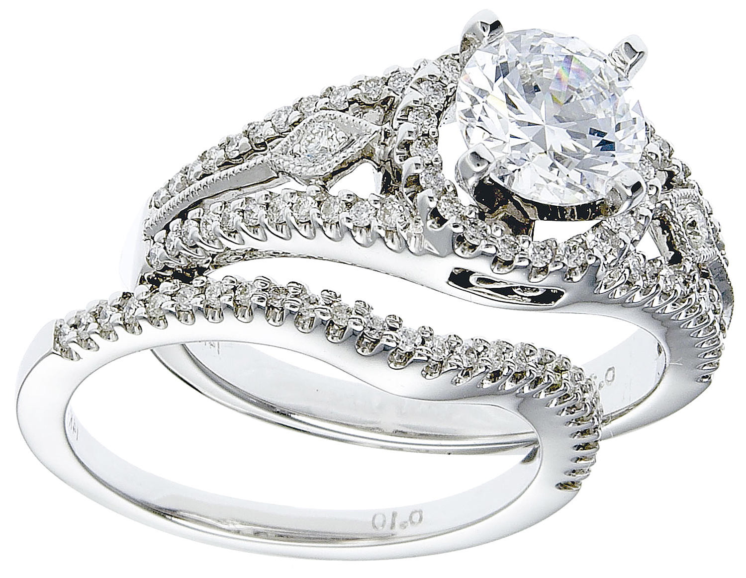 2545dee69 RWG151 Diamond Engagement Ring Set, 14K White Gold With Diamonds