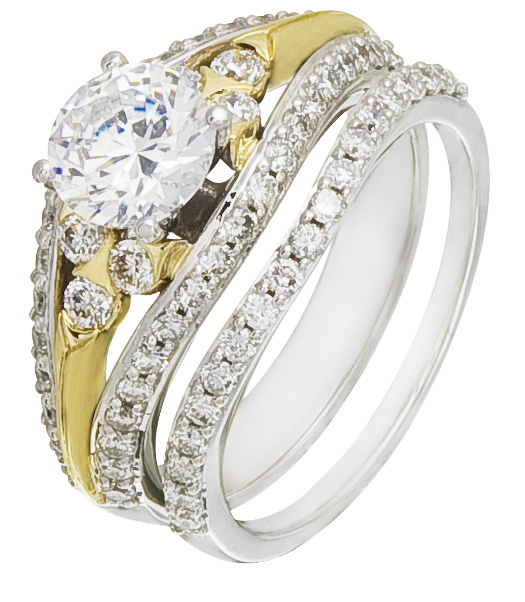 Diamonds On Two Tone Engagement Ring Setting Wholesale Priced