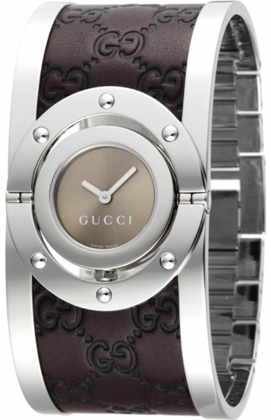 d639552f0cd YA112433 Gucci 112 The Twirl Ladies Brown Leather Watch