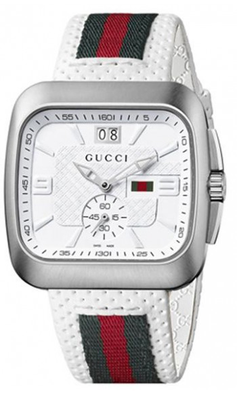 ddb165ed0 YA131303 Gucci Coupe Mens White Leather Watch