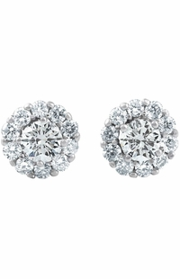Halo Round Diamond Stud Earrings, 0.97 Carat on 14k White Gold