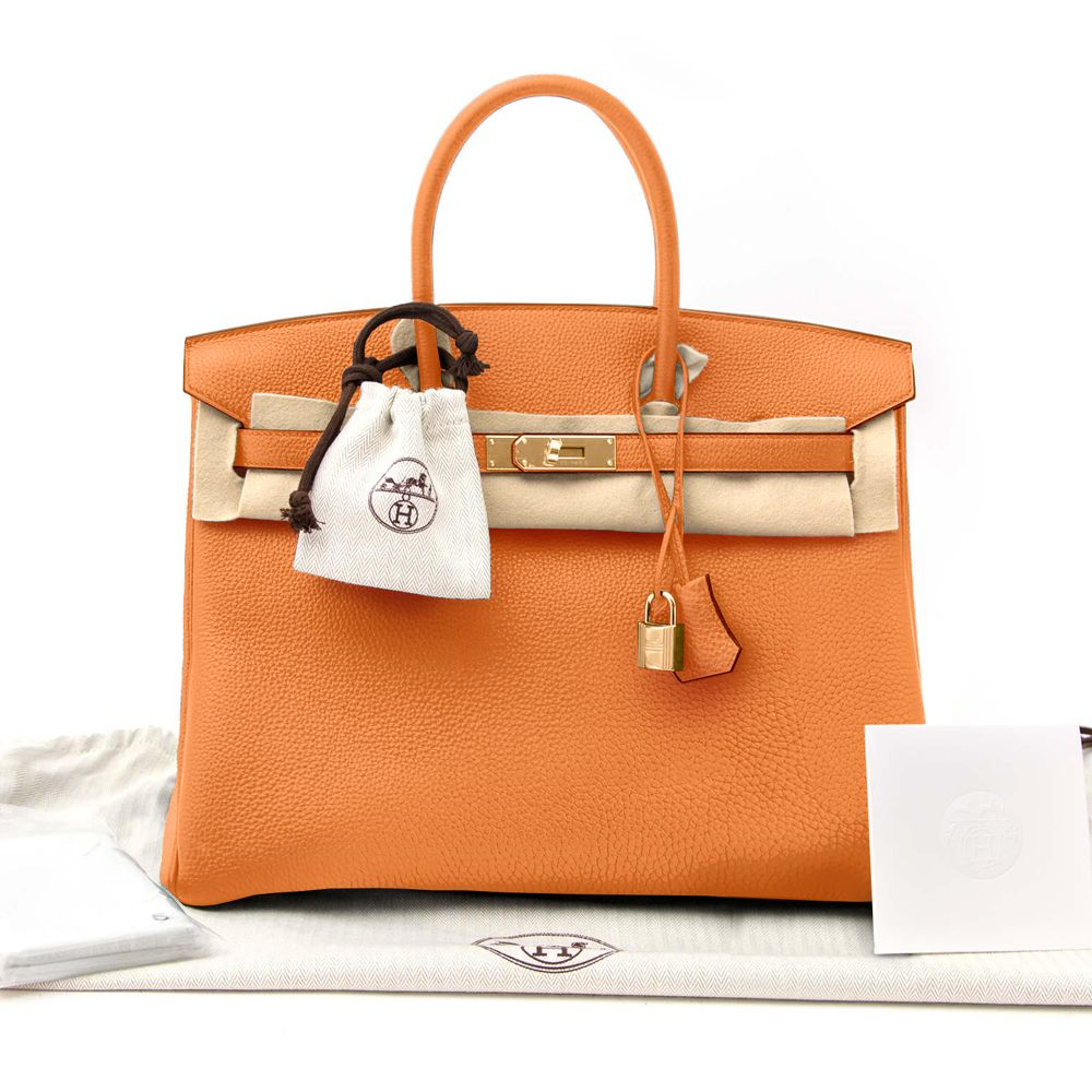fc09af9c83e43 New Hermes Birkin Bag 35 Togo Orange Women s Handbag - image 0 ...
