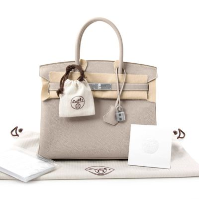 Hermes Togo Birkin 30 Bag Craie Leather Women's